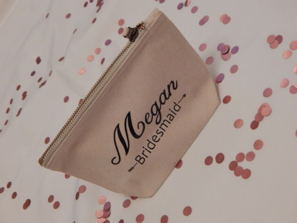 Personalised Wide Canvas Make Up Bag  - Wedding Role & Name